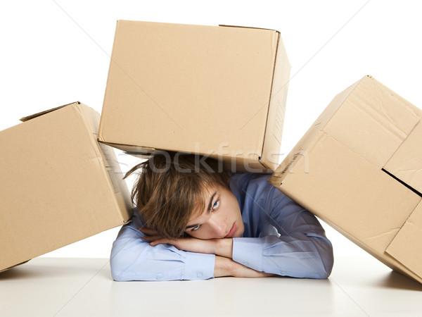 Homme cases épuisé jeune homme carte étudiant Photo stock © iko