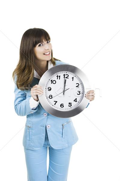 Saat kadın güzel bir kadın ayakta beyaz Stok fotoğraf © iko