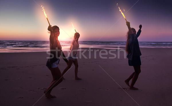 Foto stock: Verão · corrida · praia · fogos · de · artifício