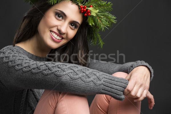 Divat lány portré gyönyörű nő díszítések fej Stock fotó © iko