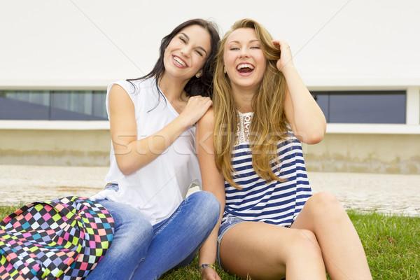 Gyönyörű boldog diákok tini iskola nő Stock fotó © iko