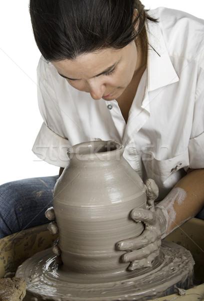 Stockfoto: Kunst · foto · vrouw · handen · werk · portret
