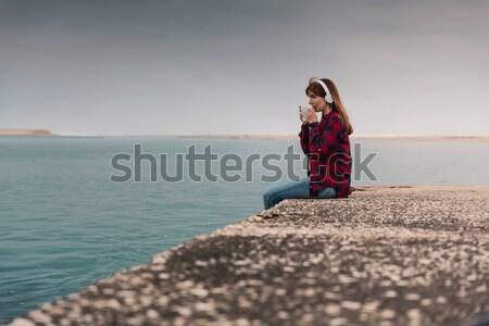 Música café perfeito combinação bela mulher Foto stock © iko