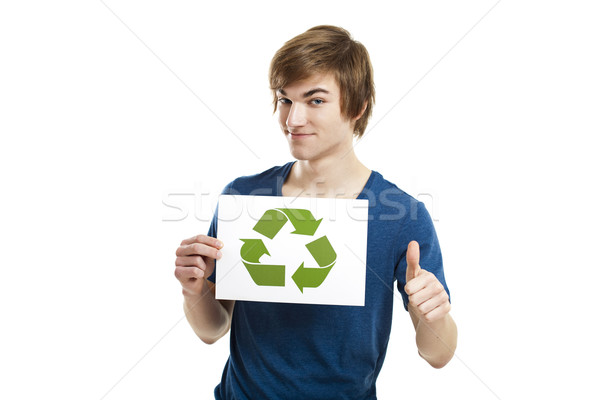 újrahasznosít jobb világ lezser fiatalember tart Stock fotó © iko