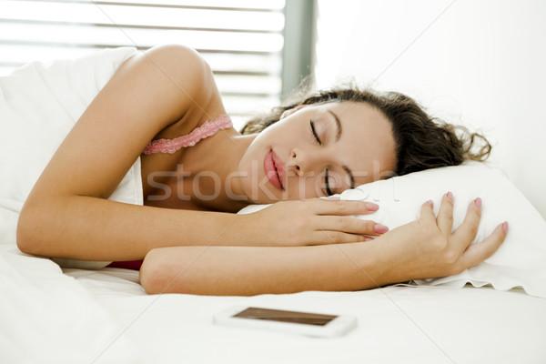 怠惰な 午前 美人 ベッド 女性 少女 ストックフォト © iko