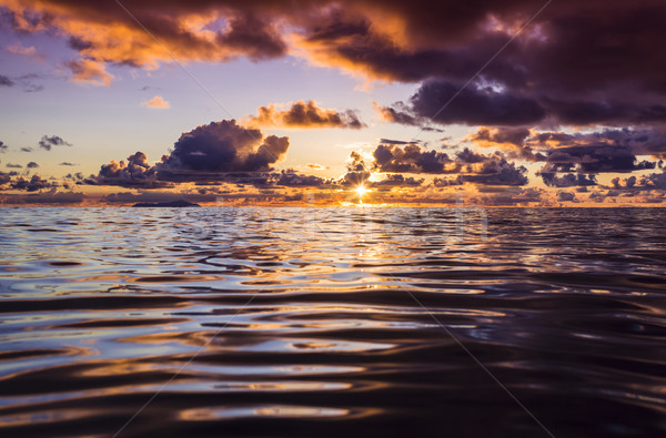 Naplemente színek Seychelle-szigetek gyönyörű tengerpart természet Stock fotó © iko
