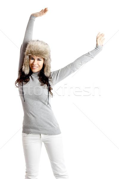 少女 毛皮 帽子 美しい 幸せ 若い女性 ストックフォト © iko