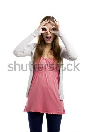 Dom gezicht mooie blonde vrouw handen Stockfoto © iko