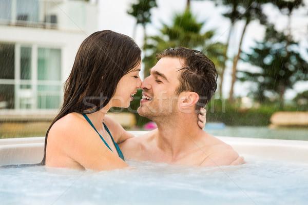 Jacuzzi luxo hotel dentro beijando Foto stock © iko