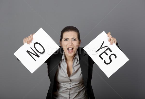 Ja geen keuze business jonge vrouw Stockfoto © iko
