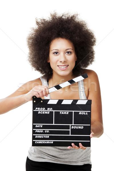 Nő gyönyörű afroamerikai tart izolált fehér Stock fotó © iko