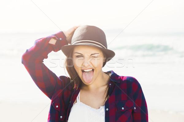 Sorrir cotidiano menina feliz dia praia Foto stock © iko