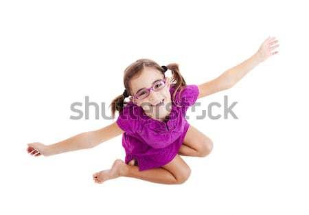Gelukkig meisje top vergadering vloer armen Stockfoto © iko