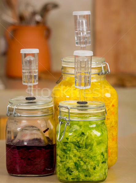 Fermented food jars Stock photo © iko