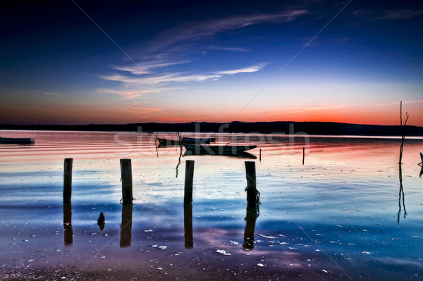 ボート 川 美しい 風景 日没 水 ストックフォト © iko