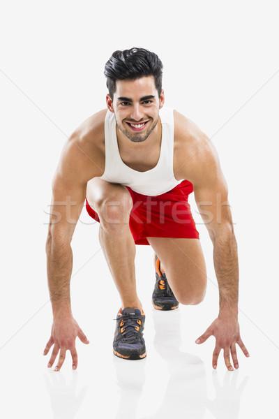 Athletic man ready to run Stock photo © iko