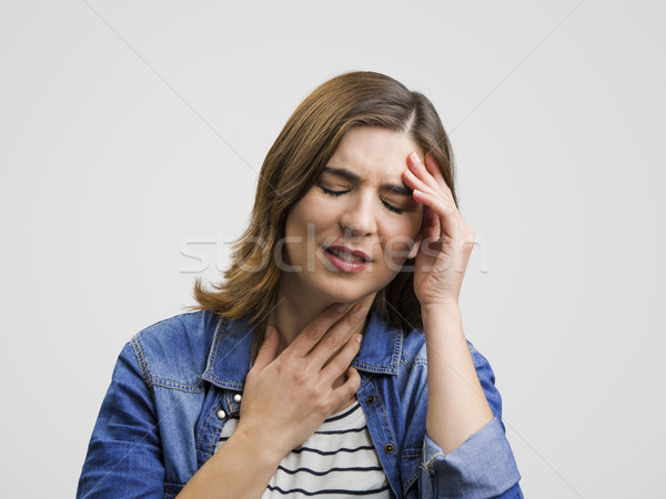 Stock fotó: érzés · borzasztó · fejfájás · csalódott · nő · tart