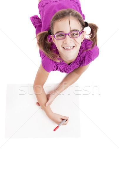 Meisje tekeningen vloer papier potlood Stockfoto © iko