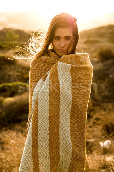 Beautiful woman wrapped in a wool towel Stock photo © iko