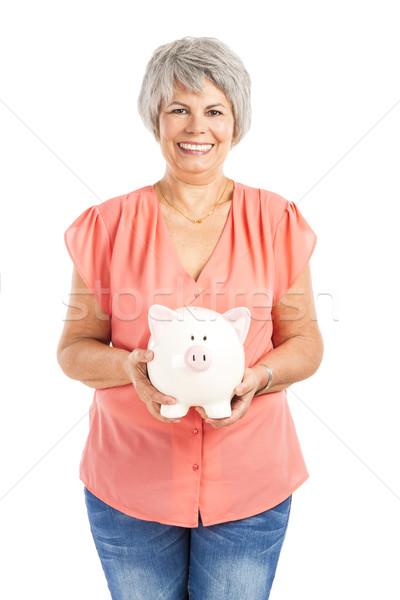 Stockfoto: Besparing · geld · portret · gelukkig · oude · vrouw · spaarvarken