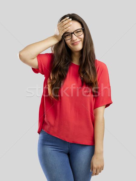 Unutulmuş kadın kız eller yüz Stok fotoğraf © iko