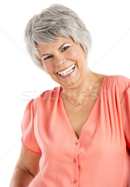счастливым старуху портрет улыбаясь изолированный Сток-фото © iko