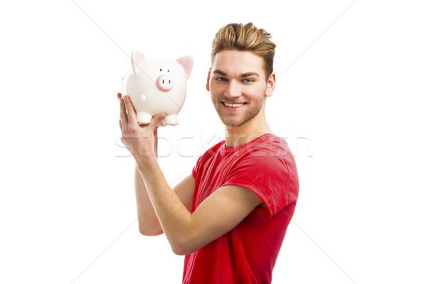 Stockfoto: Knap · jonge · man · spaarvarken · glimlachend · student