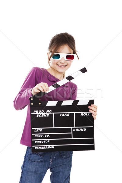 Girl with 3D glasses and a clapboard Stock photo © iko