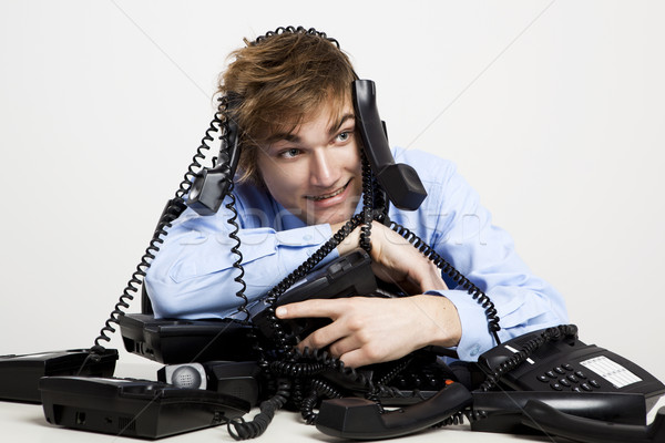 wrapped in telephones Stock photo © iko