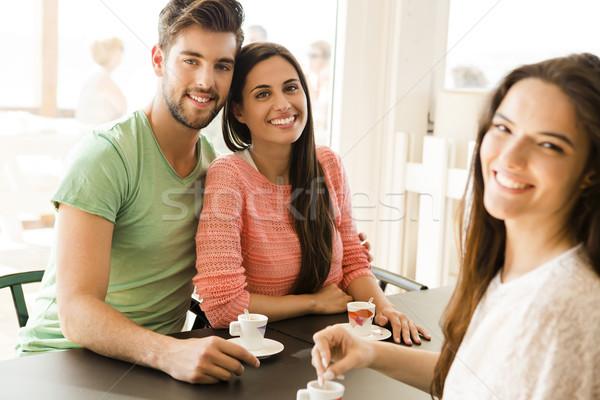 Barátok helyi kávéház nagyszerű nap nők Stock fotó © iko