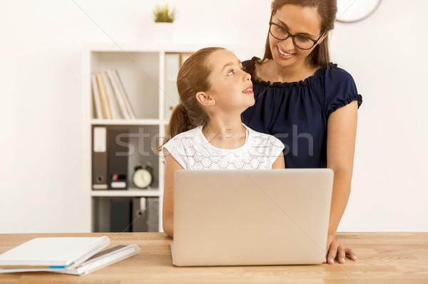 Stok fotoğraf: Benim · ödev · anne · yardım · küçük