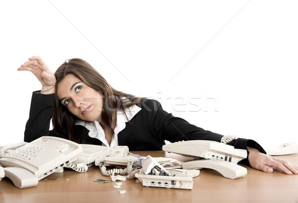 Foto stock: Estressante · trabalhar · ocupado · mulher · trabalhando · negócio