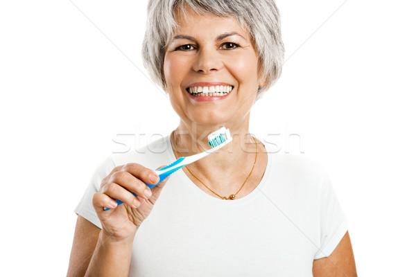 Retrato feliz vieja sonrisa mujeres Foto stock © iko