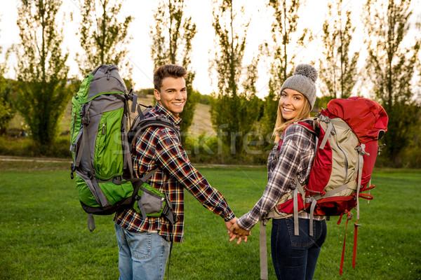 Shot klaar camping man landschap Stockfoto © iko