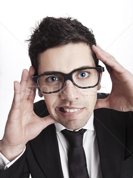 Foto stock: Nerd · empresário · engraçado · retrato · jovem · óculos
