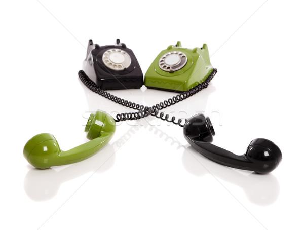 Foto stock: Vintage · telefones · imagem · dois · isolado · branco