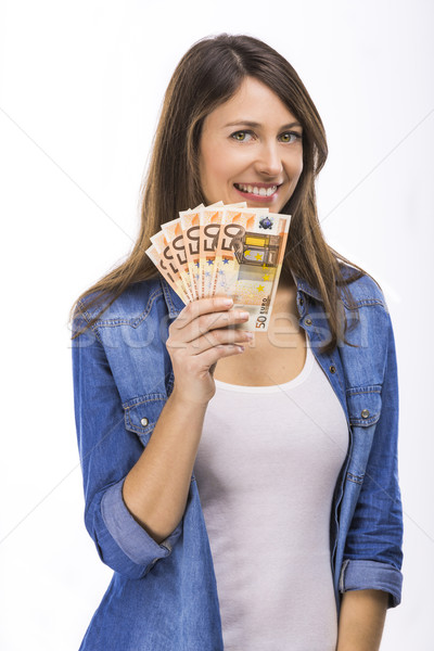 Donna euro valuta note isolato Foto d'archivio © iko