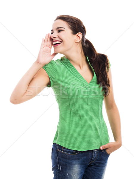 Wzywając ktoś piękna młoda kobieta odizolowany biały Zdjęcia stock © iko