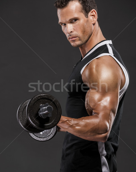 Photo stock: Muscle · homme · poids · isolé · blanche