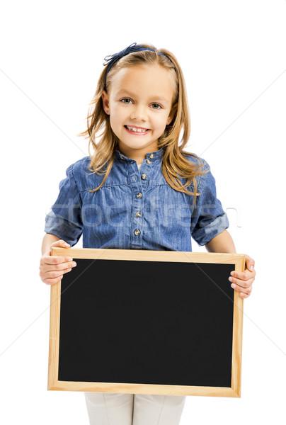 Menina quadro-negro bonitinho little girl isolado Foto stock © iko