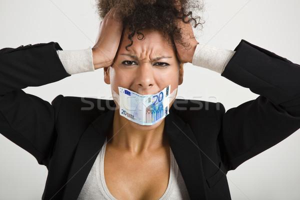 Euro bankbiljet zakenvrouw groot globale Stockfoto © iko