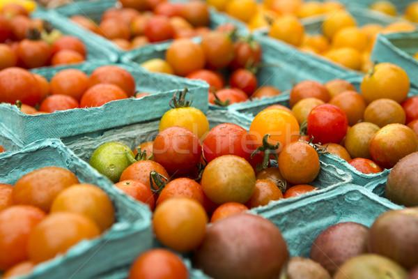 Stockfoto: Organisch · tomaten · lokaal · markt · groene · Rood