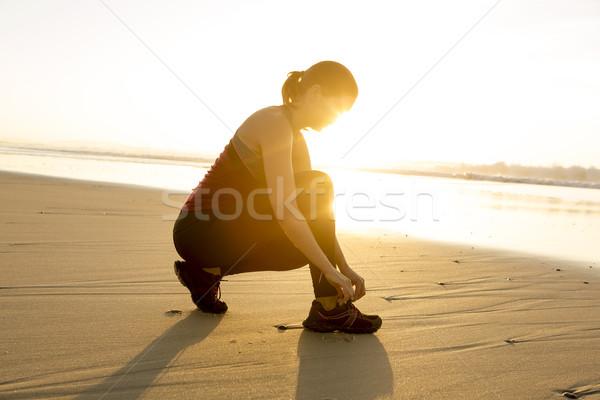 Klaar trein vrouw schoenen vrouwen sport Stockfoto © iko