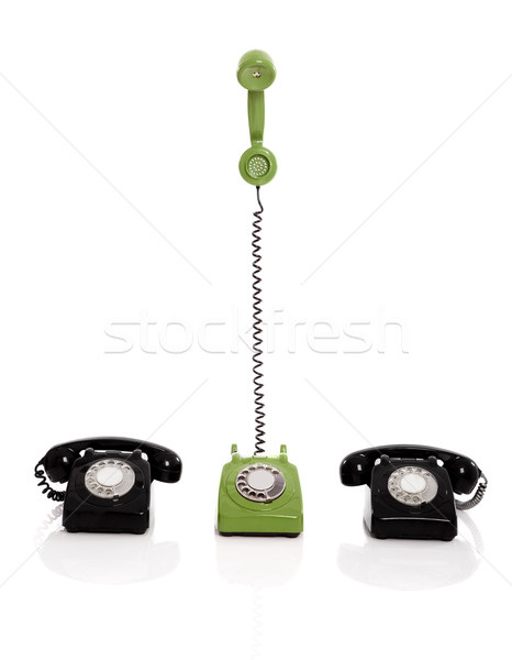 Foto stock: Vintage · telefones · verde · telefone · dois · preto