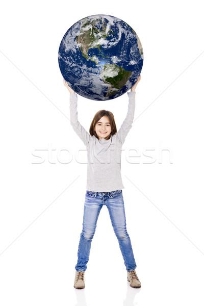 Aarde portret meisje klein aarde Stockfoto © iko