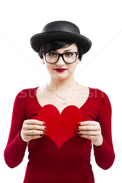 Сток-фото: девушки · красивой · смешные · NERD