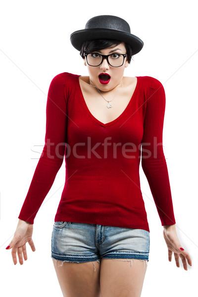 Сток-фото: NERD · девушки · красивая · девушка · Hat · очки