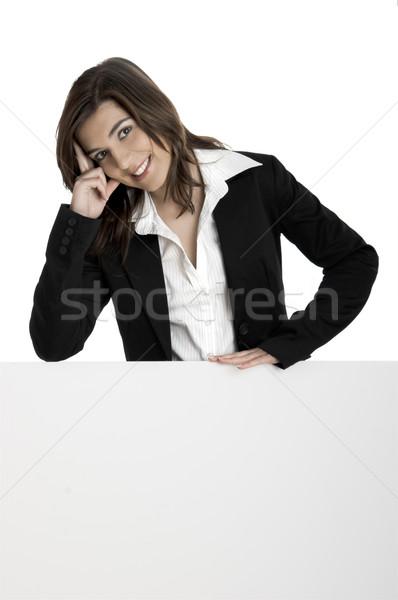 Billboard portrait heureux belle femme affaires Photo stock © iko