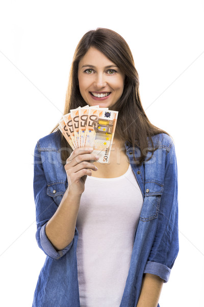 Mujer euros moneda notas aislado Foto stock © iko