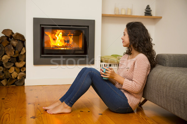 élvezi tél nap gyönyörű nő iszik forró Stock fotó © iko